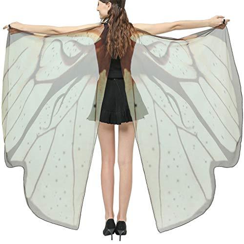 INLLADDY Damen Schmetterling Umhang Kostüm Mesh Transparent Faschingkostüme Schal Flügel Schal Tuch Erwachsene Poncho für Party Kostüm Cosplay Karneval Kafe 168x135CM