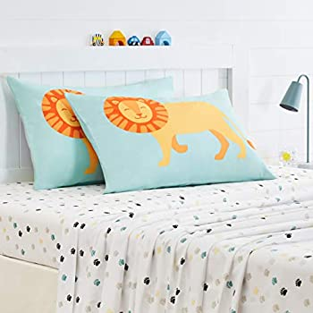 Amazon Basics Kids Laughing Lions Standard Pillow Case