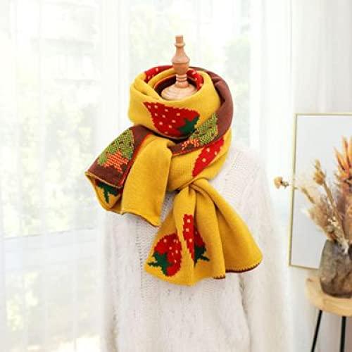 Sciarpe Vintage Confortevole Morbido Lavorato A Maglia Dolce Donna Stampa Fragola Caldo Scialle Lungo Avvolgere Inverno Selvaggio Sciarpa Femminile Ta