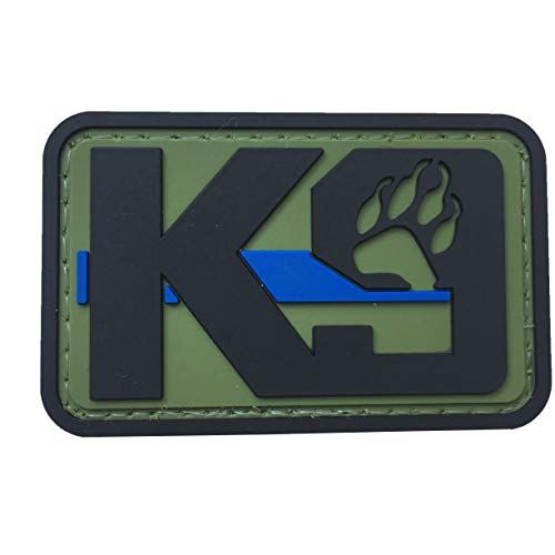 K9 Dog Paw Patch PVC Rubber Morale Tactical Police Law Enforcement Support - Canine Thin Blue Line Patch Hook Fastener Backing by uuKen Tactical Gear (OD Green)