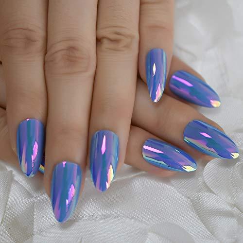 Sky Blue Holographic Fake Nails Stiletto Medium Chrome Mirror Plastic Curve Tip Shine it The Nail with Gluetabs