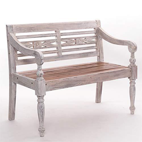 TUINBANK massief hout Relax 99 | massief hout mahonie, 100x87 cm (BxH) | houten bank in rustieke stijl, boerenbank, bank met rugleuning en inlegwerk | Kleur: 05 wit-natuur