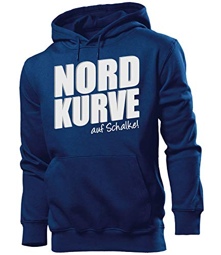 Nordkurve auf Schalke 6355 Fussball Kapuzen Pullover Pulli Fan Artikel Oberteil Geburtstags Geschenk Partner Trikot Look Männer Herren Hoodie Navy L