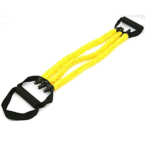 Iusun Pull Handles Fitness Resistance Bands 47inch Exercise Rope Workout Elastic String Sport Assist Trainer Exercise for Gym, Pilates, Training, Yoga (Yellow)