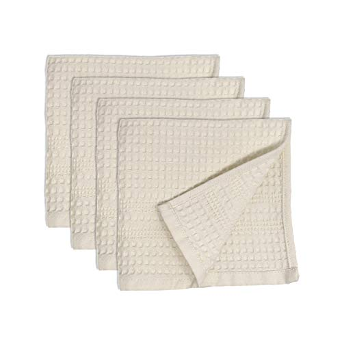 Premium 4 Pc Waffle Weave Washcloth Set 100% Natural Cotton Quick Dry Soft Luxurious Highly Absorbent Fabric Small Face Towel No Lint Fade Resistant Color (Cream)