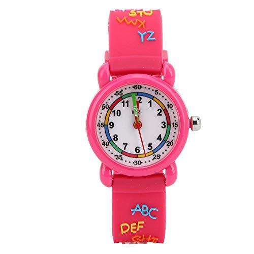 Reloj de pulsera, reloj digital con diseños a prueba de agua, material ecológico, regalos de viaje seguros(Letter plastic shell rose red)