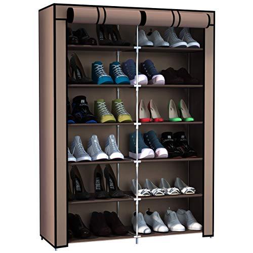 Rocorose Zapatero con 6 capas, tubo galvanizado, resistente al polvo, para 24 pares de zapatos, aprox. 32,28 x 11,2 x 41,7 pulgadas, color marrón claro