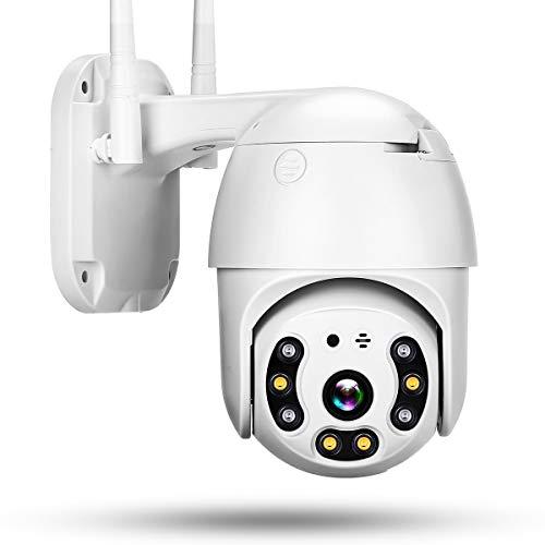 TOMLOV WiFi PTZ Videocamera Telecamera Sicurezza Esterna 1080P HD 5X Zoom Digitale Inclinazione Pan Rilevamento movimento bidirezionale Visione notturna colori Visione wireless IP casa