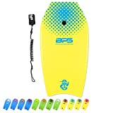 BPS Body Board for Kids and Adults - 33 Inch 'Shaka' Surfers Board - HDPE Slick Bottom Enhanced Speed Easy Control Surfing - with Black Coiled Wrist Leash (Yellow, Blue Accent)