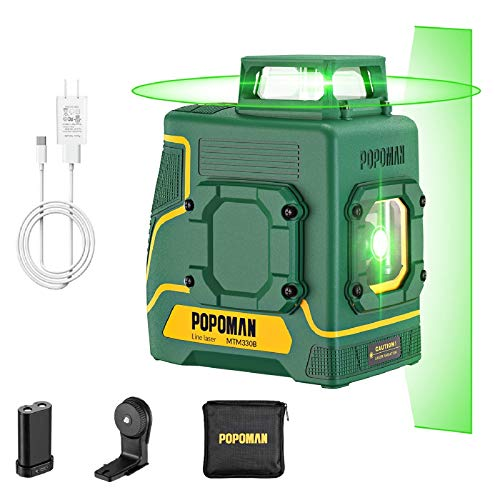 Livella Laser Verde POPOMAN, 1x360° Linea Laser 30M, Ricarica USB Batteria al Litio, Autolivellante, Modalità pulsata, Supporto Magnetico, Borsa, IP54, 360° Girevole, Decorazione d'interni - MTM330B