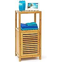 Relaxdays estantería de bambú con 3, 4 o de 5 estante de las superficies de soporte de estante de pared con puerta de estantería de madera para el baño y el salón de estantería de madera con 3, 4 o 5 compartimentos, colour blanco y negro, bambú, naturaleza, 3 baldas