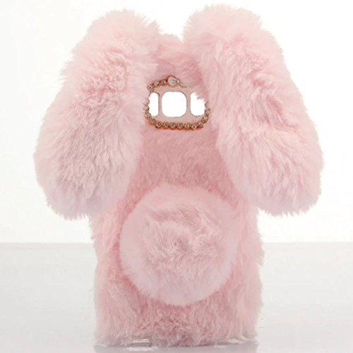 Omorro for Galaxy S7 Case [Plush Rabbit Case] Stylish Desgin Cute Furry Rabbit Bunny Fur Bling Crystal Rhinestone Design Fluffy Cool Soft Protective Cover Slim Shell for Samsung Galaxy S7
