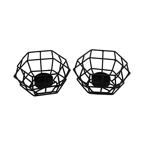 NIRMAN Iron Cage Tealight Candle Holder with Hollow Hexagon Shaped Geometric Design for Weddings, Parties, Home and Christmas Décor (12.7cm x 12.7cm x 6.35cm), (Set of 2)