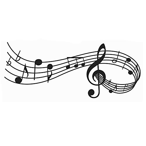 Musical Nota Pestañas De Música Pegatinas de Pared Etiqueta de la Pared, AUHOTA Desmontable DIY Decorativo Adhesivo Arte Murales para Sala de Música Habitación Living Room (23 × 9 pulgadas, Negro)