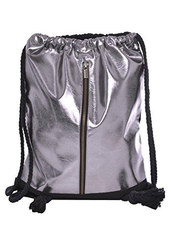 Sublevel Metallic Turnbeutel mit Zipper | Gym Bag | Leichter Daypack mit Kordeln...