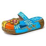 gracosy Plataforma Sandalias de Mujer 2020 Zuecos de Cuero en Verano Cómodas Zapatillas para Caminar al Aire Libre Sandalias Playa con Resbalón de Flores Zapatos Holgazanes Bohemia 37-42
