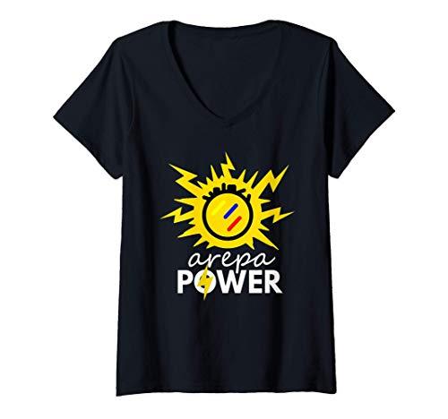 Mujer Arepa Power Arepa Eléctrica Venezolana Divertida Camiseta Cuello V