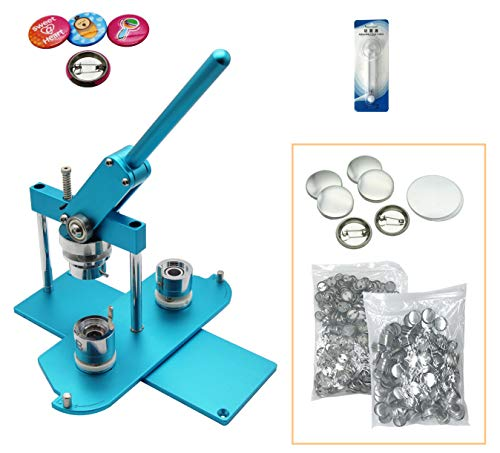 """ChiButtons (Kit) 25mm (1"""") Badge Press Machine-B400 + 25mm Round Die Moulds + 500 Set Button Components + Adjustable Circle Cutter (Blue-New)"""