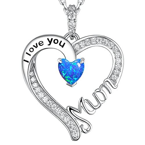 GinoMay Collar con colgante de topacio azul con topacio azul y plata de ley con topacio azul de septiembre de octubre para madre y cumpleaños, para mamá o amor, corazón, Piedra Metal, Opal,