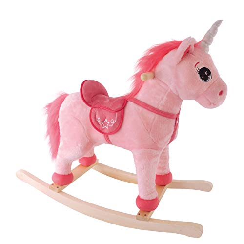 BIECO 74000904 - Plush Rocking Animal Unicorn Rosalie, Rocking Unicorn with with Galloping Noise and neighing, Swing Plush Unicorn Rocking Horse for Babies and Infants from 9m +