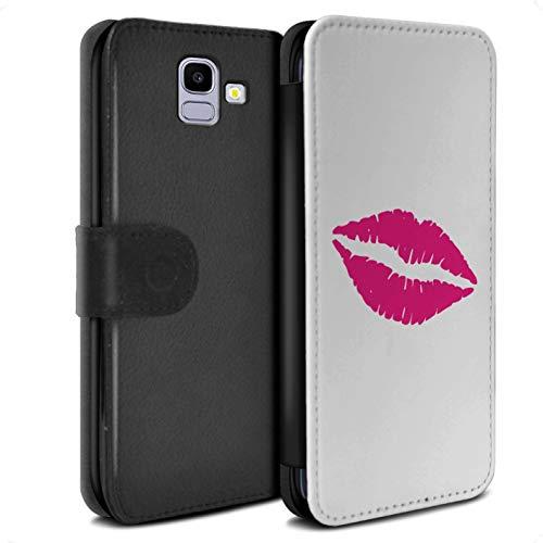 eSwish PU lederen hoesje/Cover/Portemonnee/SG-PSW/Lippenstift Collectie Samsung Galaxy J6 2018/J600 Hot Pink Lips