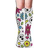 Calcetines largos Cráneo Patrón sin costuras Día de los muertos Calcetines florales lindos hasta la rodilla de las mujeres Poliéster Suave Comodidad gruesa Casual Medias finas