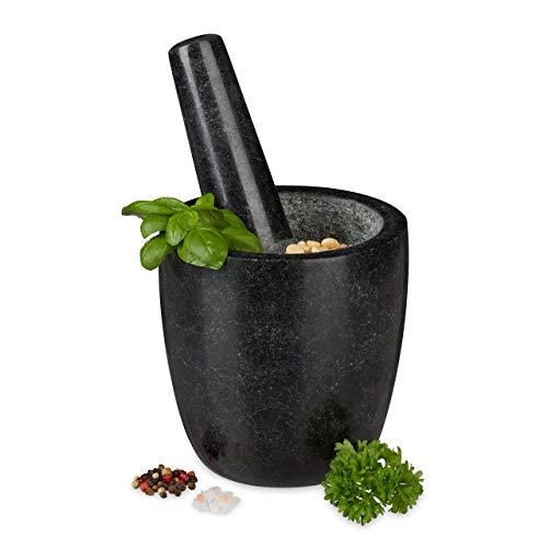 Relaxdays Granit Mörser mit Stößel, robust & langlebig, Gewürze, Kräuter, polierter Steinmörser, Ø 13 cm, 500ml, schwarz