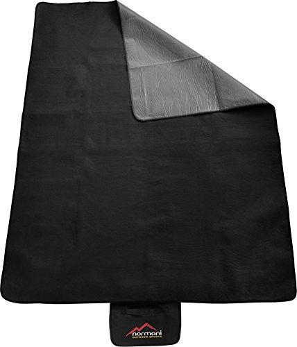 normani Outdoor Campingdecke Fleece mit Tragegriff wasserdicht isoliert Farbe Schwarz