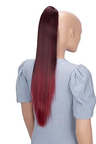 PRETTYSHOP 60cm Haarteil Zopf Pferdeschwanz Haarverlängerung Glatt Rot Mix H620