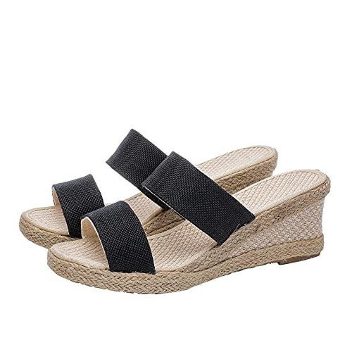 Zapatos de Mujer Hebilla Hecha a Mano Pendiente con Zapatillas Casuales Sandalia Mujer Plataforma Casual de Cordon Ajustable Espardenas de Moda Primavera Verano
