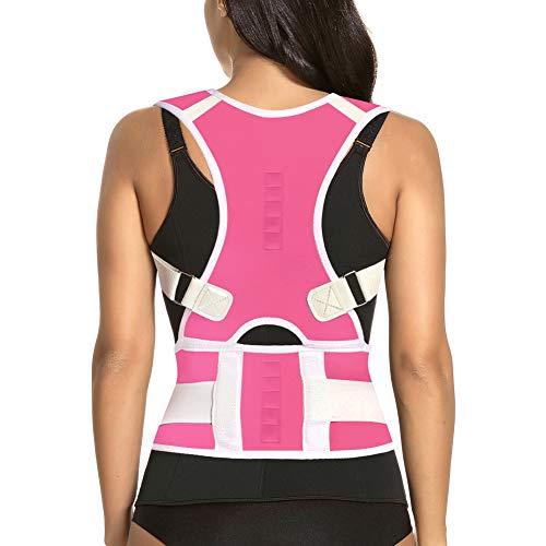 Thoracic Back Brace Posture Corrector - Magnetic Support for Neck Shoulder Upper and Lower Back Pain Relief - Perfect Posture Brace for Cervical Lumbar Spine - Fully Adjustable Belt (Pink, Medium)