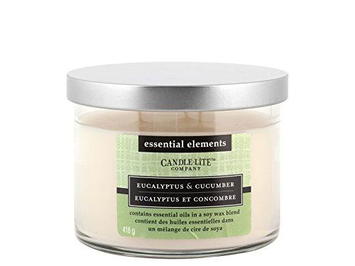 Candle-lite 6084 geurkaars 3 lonten eucalyptus en cucumber met etherische olie van Soya, was, wit, 11,5 x 11,5 x 8,5 cm, 2 stuks