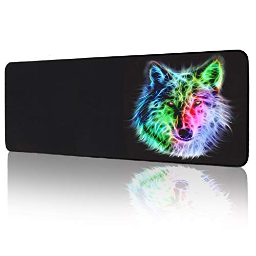 Gaming Mouse Pad, Anime Wolf Large Mouse Pad - Computer Keyboard Extended Mouse Mat Mousepad Stitched Edges for Game Players 31.5x12inch (Wolf Mouse pad)