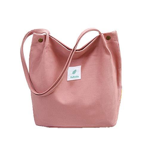 Canvas Tasche Damen Canvas Umhängetasche Shopper Casual Handtasche groß Chic Schulrucksack für Alltag Büro Schulausflug Einkauf, 38 x 32 x 11cm Rosa