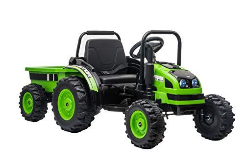 ES-TOYS Coche eléctrico para niños – Tractor eléctrico 388 – batería de 12 V 7 A, 2 motores de 35 W con control remoto de 2,4 GHz y remolque (verde)
