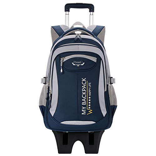 Fanspack Rolling Backpack for Boys Wheeled Backpack School Bags for Boys Trolley Backpack with 6 Wheels Can Climb Stairs