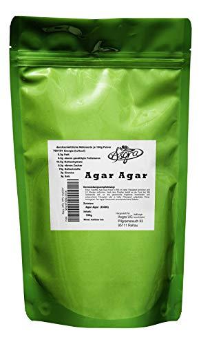 100g Agar Agar - E406 - mind. 1 Jahr MHD - Bindemittel für gutes Gelingen - Backen und Kochen wie die Profis - im praktischen Beutel mit Zip-Verschluß - von Asgra