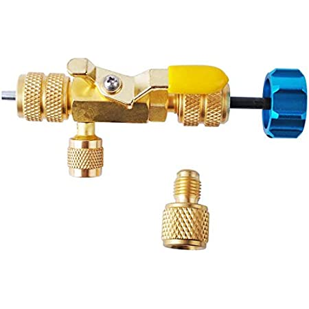 ApplianPar A//C Valve Core Remover Installer Tool Kit R22 R134A R12 and Dual Size SAE 1//4 5//16 Port with R410 R32 Brass Adapter and Nut
