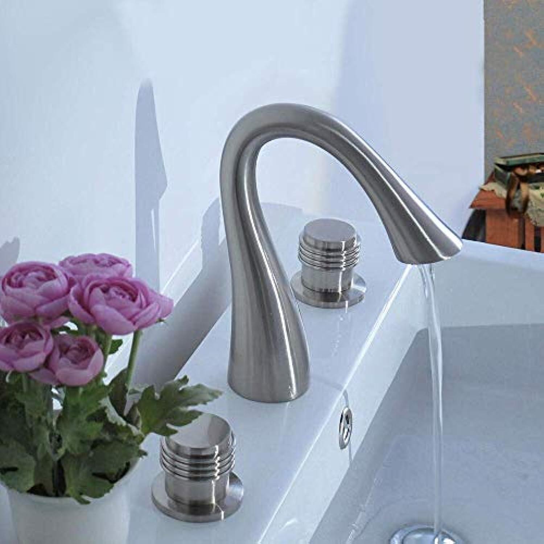 Modernes Centerset Keramikventil Drei Lcher Zwei Griffe Drei Lcher Nickel Gebürstet, Waschbecken Wasserhahn, 1,1