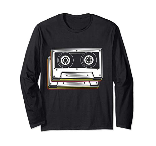Disfraz de cinta de cassette 80s 90s Retro Manga Larga