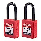 OHMOTOR Candado de seguridad, Bloqueo de seguridad 2 paquetes, Clave diferente (1-1/2' Insulated Shackle)