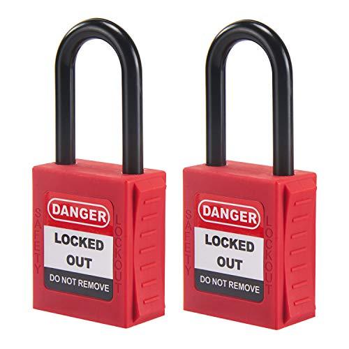OHMOTOR Candado de seguridad, Bloqueo de seguridad 2 paquetes, Clave diferente (1-1 2  Insulated Shackle)