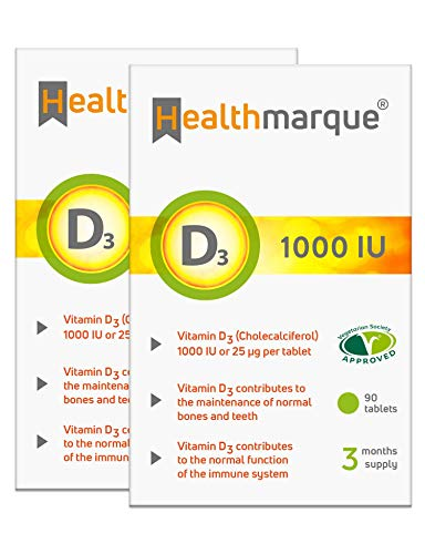 Vitamin D3 Tablets 1000iu 6 Month Supply | Premium Pharmacopoeia Grade D Supplements by Healthmarque UK; 25mcg |180 Tablets not Capsules | Bone Muscle & Immune Support