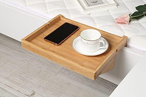 Woodluv, tavolino da agganciare al lato del letto 100% ecologico, in bambù naturale, 33x 25x 8,5cm