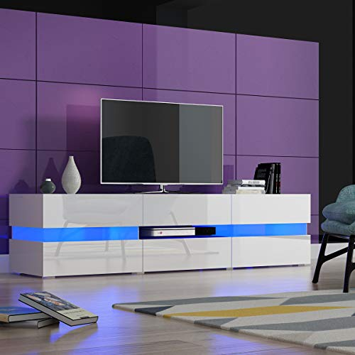 Panana TV Unit Cabinet Sideboard 177cm x 39cm x45cm Large Storage Modern Stand Matt Body and High Gloss Doors With 16 Color RGB LED Lights (White)