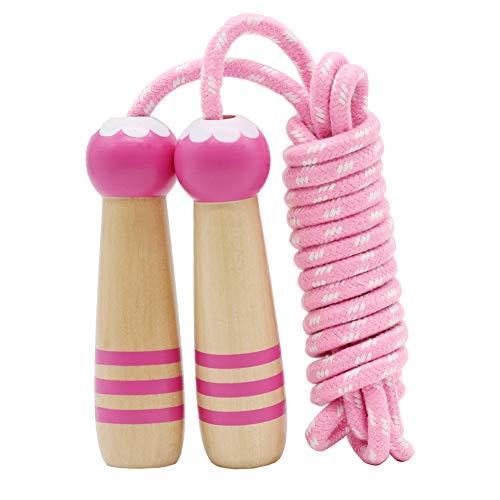 Sprungseil Kinder Verstellbare, Kinder Springseil mit Holzgriff, Hüpfseil Seilspringen Kinder Baumwolle, Kids Skipping Rope Geschenke für Jungen und Mädchen 4 5 6 7 8 9 10 jahre