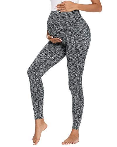 Love2Mi Pantalones de deporte para embarazadas, maternidad, yoga, leggings con bolsillos, Rayas negras y gris., S