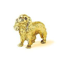 キングチャールズスパニエル 22ct ゴールドプレート イギリス製 アート ドッグ フィギュア コレクション[DOG ARTS JP]