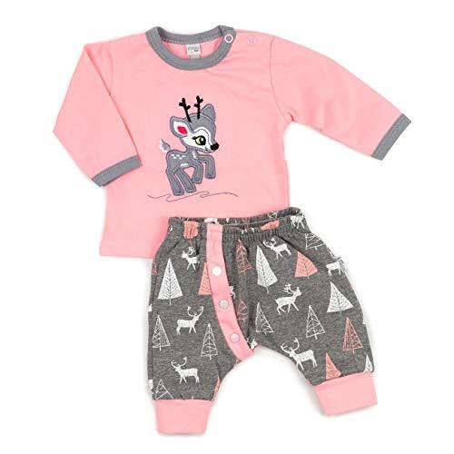 Koala Baby - Baby Set Shirt + Hose rosa grau | Motiv: Reh | Babykleidung 2 Teile mit Rehkitz für Neugeborene & Kleinkinder | Größe: 3 Monate (62)