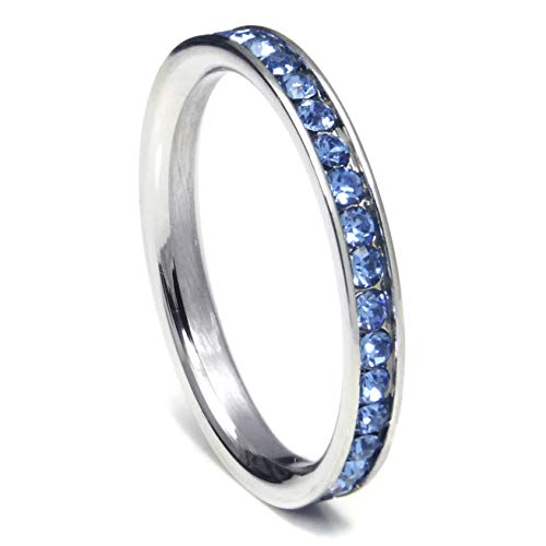 Metal Factory 316L Stainless Steel Coral Reef Blue Cubic Zirconia CZ Eternity Wedding 3MM Band Ring Sz 7